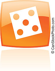 Orange dice isolated on white