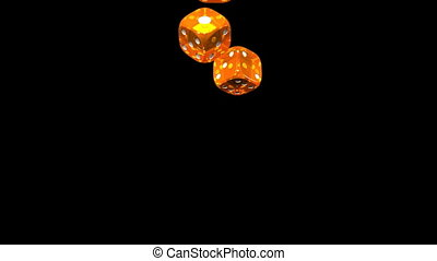 Dice - Orange Dice On Black Background. 3D render Animation....