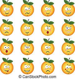 orange, différent, caractéristique, exp