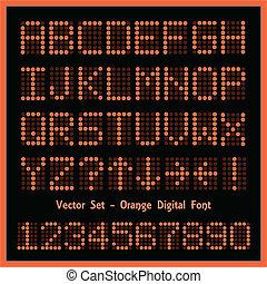Orange Digital Font - Image of colorful orange alphabetic...