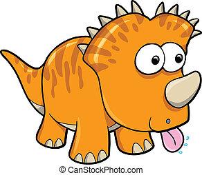 orange, dinosaurierer, vektor, albern, tier
