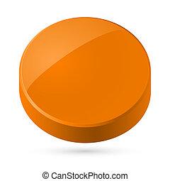 Illustration of orange disk isolated on white background.