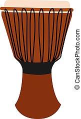 Orange djembe, illustration, vector on white background.