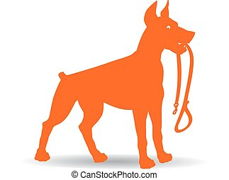 Orange Dog Silhouette (Doberman Pinscher) keeps leash, on...