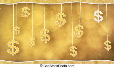 orange dollar signs on strings loop