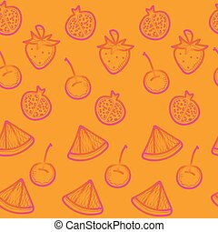 orange doodle seamless background with red fruits