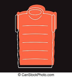Orange down jacket in doodle style icons vector illustration for design and web isolated