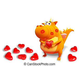 Orange dragon with red heart and kisses, isolated on white...