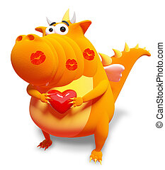 Orange dragon with red heart and kisses, isolated on white