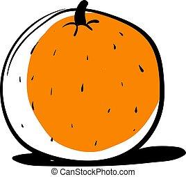 Orange drawing, illustration, vector on white background.