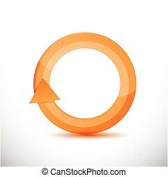 orange, drehen, design, abbildung, zyklus