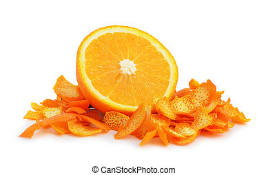 Orange dried peel. Isolated on white background.