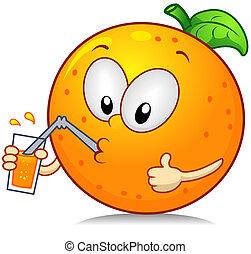 Orange Drink - Illustration of an Orange Character Drinking...
