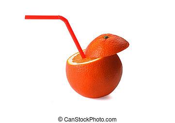orange drink - fresh ripe orange cutted on top with straw on...