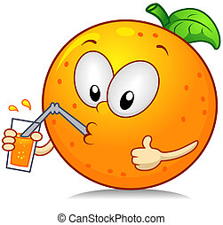 Illustration of an Orange Character Drinking Some Juice While Giving a Thumbs Up