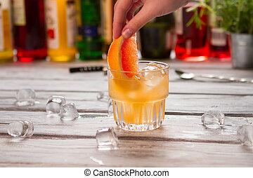 Orange drink in glass.