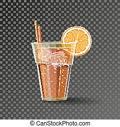 Orange drink in the glass