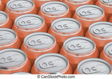 orange drink metallic cans, top view