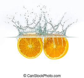 orange drop with water splash