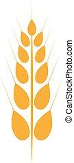 Orange ear of wheat vector icon. Vector illustration.