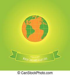 Orange earth with green on green background