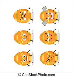 Orange easter egg cartoon character with various angry expressions