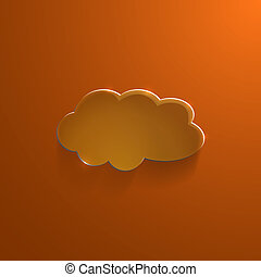 Orange eco glossy glass cloud icon vector illustration