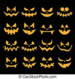 orange, effrayant, nuit sorcières citrouille, figure