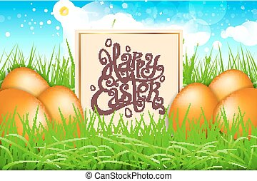 orange eggs in a field of grass with blue sky. happy easter lettering modern calligraphy, vector