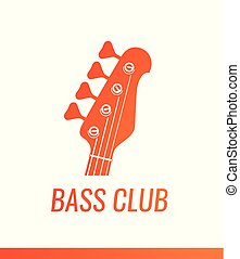 Orange electric guitar headstock silhouette - Vector logo of Music Shop or Club isolated on white background.