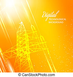 Orange electric power transmission tower. Vector...