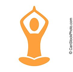 Orange emblem Yoga pose isolated on white