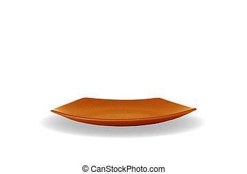 Orange empty plate
