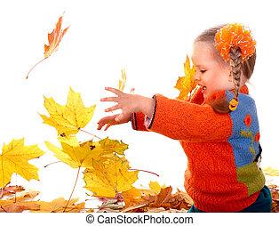 orange, enfant, leaves., automne