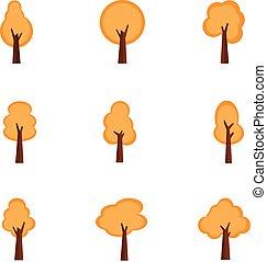 orange, ensemble, collection, arbres
