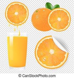 orange, ensemble, fruits