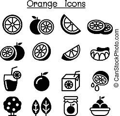 orange, ensemble, icône