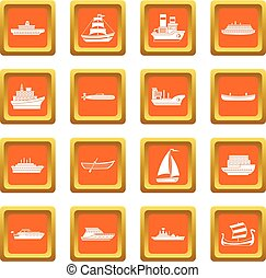 orange, ensemble, mer, transport, icônes