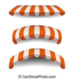 orange, ensemble, rue, arrière-plan., cafés, isolé, illustration, baldaquins, vecteur, marquise, store., rayé, blanc, restaurants., marquises
