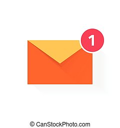 Orange envelope with red badge icon, concept of email received