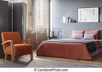 Orange, blanc, énergique, chambre à coucher. Rayonnage, plancher ...