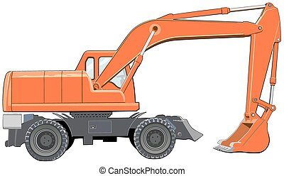 Orange excavator side view