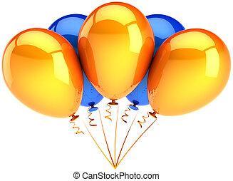 orange, fête, bleu, ballons, coloré