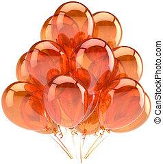 orange, fête, ensoleillé, coloré, ballons