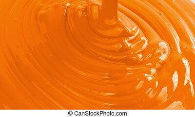 orange, farbe, gießen