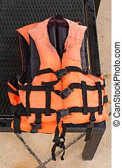 orange farbe, schwimmwesten