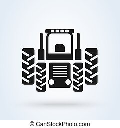 Orange farm tractor front view. Vector illustration isolated