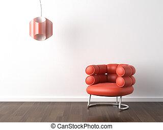 orange, fauteuil, blanc, conception intérieur