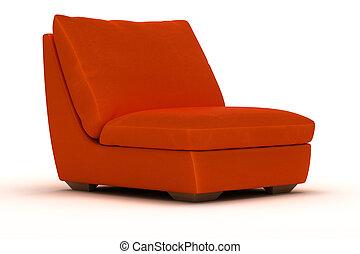 orange, fauteuil cuir