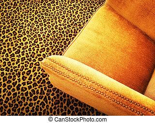 orange, fauteuil, léopard, velours, moquette